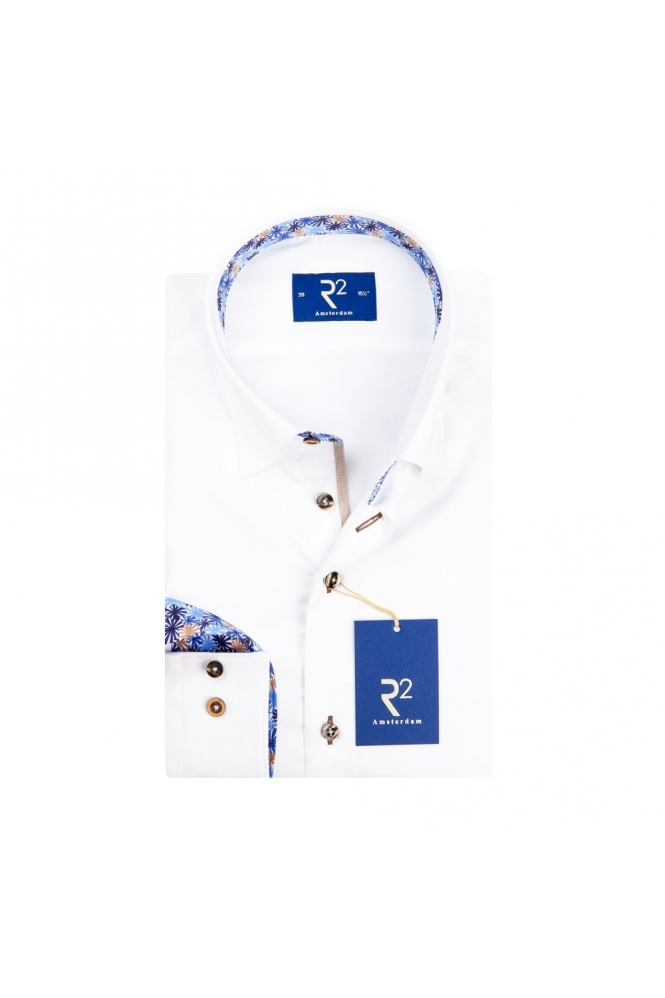 R2 Westbrook R2 Long Sleeve Button Down Under Collar Shirt White